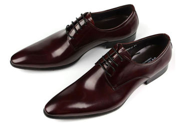 Oxford Style Mens Dress Leather Buty Ciemny Red / Black Lace Dress Up Shoes